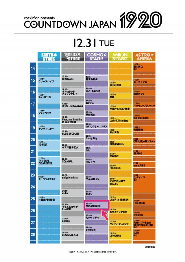 12/31 (火)COUNTDOWN JAPAN 19/20タイムテーブル解禁!